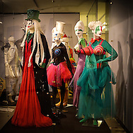 """Costumes from Mozart's """"The Magic Flute""""  from the 1997 Salzburg Festival production, designed by Achim Freyer, on exhibit at the New York Public Library for the Performing Arts in Lincoln Center, New York City."""
