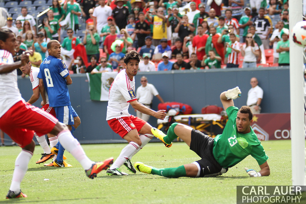 July 14 2013:  Mexico Forward Rafael Marquez Lugo (11) and Martinique Goalie Kevin Olimpa (23) watch the ball go wide of the goal during the first half of the CONCACAF Gold Cup soccer match between Martinique and Mexico at Sports Authority Field in Denver, CO. USA.