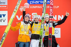 Second placed Severin Freund of Germany, winner Peter Prevc of Slovenia and third placed Lauri Asikainen of Finlan Jurij Tepes of Slovenia in Overall Ski Flying classification celebrate during final trophy ceremony after the Ski Flying Individual Competition at Day 4 of FIS World Cup Ski Jumping Final, on March 22, 2015 in Planica, Slovenia. Photo by Vid Ponikvar / Sportida