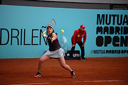 May 6, 2019 - Madrid, Spain - Jelena Ostapenko (LAT) in her match against Kiki Bertens (NED) during day three of the Mutua Madrid Open at La Caja Magica in Madrid on 6th May, 2019. (Credit Image: © Juan Carlos Lucas/NurPhoto via ZUMA Press)