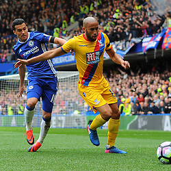 Pedro of Chelsea puts Andros Townsend of Crystal Palace under pressure during Chelsea vs Crystal Palace, Premier League , 01.04.17 (c) Harriet Lander | SportPix.org.uk