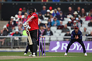 Leicestershire Foxes Paul Horton (Capt) nicks one to Lancashires Keaton Jennings at slip during the Royal London 1 Day Cup match between Lancashire County Cricket Club and Leicestershire County Cricket Club at the Emirates, Old Trafford, Manchester, United Kingdom on 28 April 2019.
