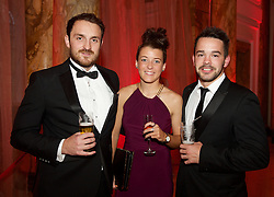 CARDIFF, WALES - Monday, October 5, 2015: xxxx, Angharad James and xxxx during the FAW Awards Dinner at Cardiff City Hall. (Pic by Ian Cook/Propaganda)