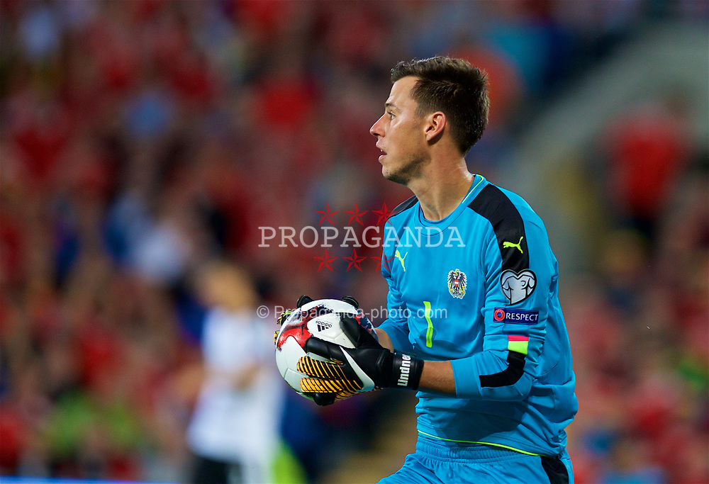 CARDIFF, WALES - Saturday, September 2, 2017: Austria's goalkeeper Heinz Lindner during the 2018 FIFA World Cup Qualifying Group D match between Wales and Austria at the Cardiff City Stadium. (Pic by David Rawcliffe/Propaganda)