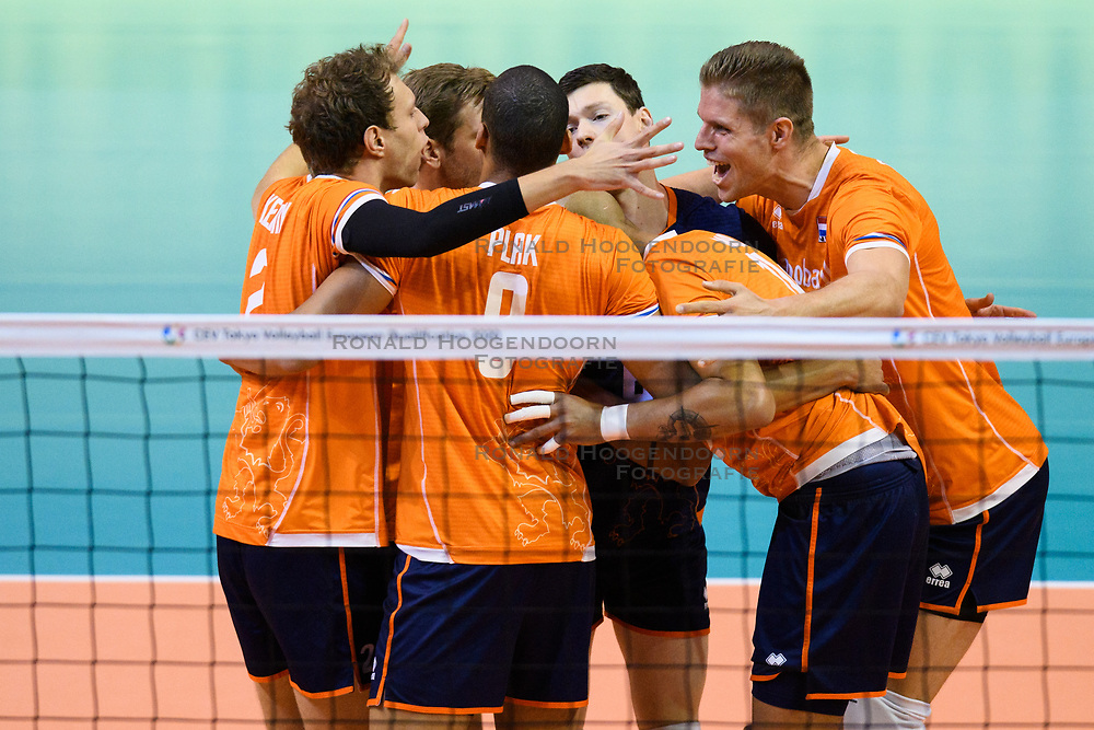 06-01-2020 NED: CEV Tokyo Volleyball European Qualification Men, Berlin<br /> Match Serbia vs. Netherlands 3-0 / Wessel Keemink #2 of Netherlands, Thijs Ter Horst #4 of Netherlands