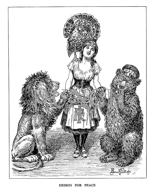 Design for Peace. (The French Republic holds hands with the British Lion and a coy USSR while Turkey sits on her shoulder)