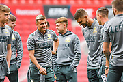 Ezgjan Alioski of Leeds United (10) arrives at the ground during the EFL Sky Bet Championship match between Bristol City and Leeds United at Ashton Gate, Bristol, England on 4 August 2019.