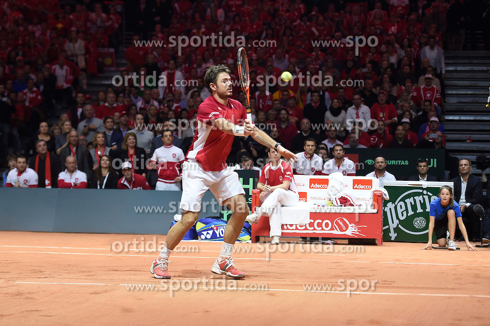 21.11.2014, Stade Pierre Mauroy, Lille, FRA, Davis Cup Finale, Frankreich vs Schweiz, im Bild Stanislas Wawrinka (SUI) // during the Davis Cup Final between France and Switzerland at the Stade Pierre Mauroy in Lille, France on 2014/11/21. EXPA Pictures &copy; 2014, PhotoCredit: EXPA/ Freshfocus/ Valeriano Di Domenico<br /> <br /> *****ATTENTION - for AUT, SLO, CRO, SRB, BIH, MAZ only*****
