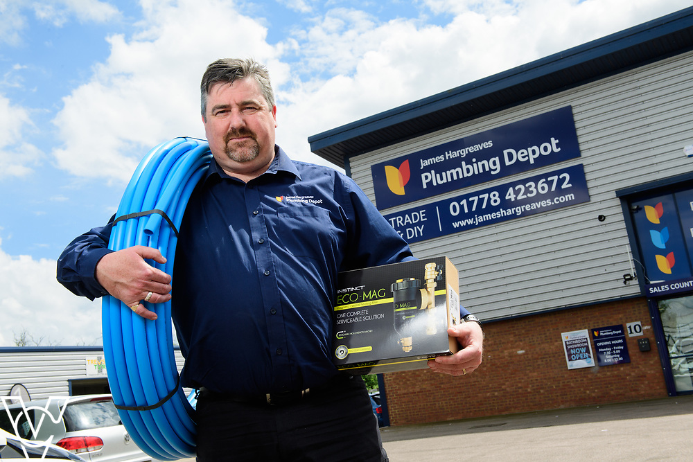 Iain Thom has been appointed as the manager of the new James Hargreaves Plumbing Depot in Bourne, Lincolnshire.  Mr Thom was previously a corporal in the British Army.<br /> <br /> Picture: Chris Vaughan Photography<br /> Date: May 18, 2017