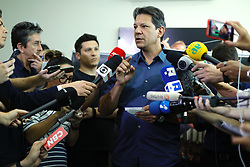 October 3, 2018 - Sao Paulo, Sao Paulo, Brazil - Sao Paulo, Sao Paulo, Brazil - Sep, 2018 - FERNANDO HADDAD, the Workers' Party candidate for the presidency of Brazil spoke to journalists on Wednesday (3), in São Paulo. HADDAD spoke about attacks received through WhatsApp and issued a telephone number to receive complaints. (Credit Image: © Marcelo Chello/ZUMA Wire)