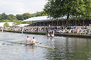 Henley, Great Britain.  Henley Royal Regatta. Leander Club, GBR, M2X, Matt WELLS [bow], and Marcus BATEMAN [Stroke] [Bucks], lead Chula Vista Training Center, USA [Berks], as they pass Stewards' Enclosure, in the Semi-Final, of the Double Sculls Challenge Cup. River Thames Henley Reach.  Royal Regatta. River Thames Henley Reach.  Saturday  02/07/2011  [Mandatory Credit  Intersport Images] . HRR
