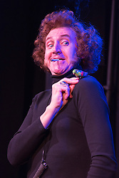 © Licensed to London News Pictures. 26/01/2016. London, UK. David Boyle as Marty Feldman. Monty Python's Terry Jones directs Jeepers Creepers, a play about the powerful and complex partnership between Marty Feldman and his wife Lauretta. The comedy was written by Marty's biographer Robert Ross and is starring David Boyle as Marty Feldman and Rebecca Vaughan as Lauretta Feldman. Four-week run premiers at the Lounge at Leicester Square Theatre from 18 January to 20 February 2016. Photo credit: Bettina Strenske/LNP
