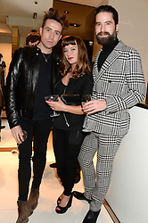 Left to right, NICK GRIMSHAW, COLLETTE COOPER and JACK GUINNESS at a party hosted by Gucci & Clara Paget to drink a new cocktail 'I Bamboo You' held at Gucci, 34 Old Bond Street, London on 16th October 2013.