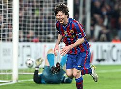 06-04-2010 VOETBAL: CHAMPIONS LEAGUE: BARCELONA - ARSENAL: BARCELONA<br /> Barcelona wint met 4-0 van Arsenal /  Lionel Messi viert zijn vierde doelpunt deze avond<br /> ©2010-FRH-nph / Alterphotos-Acero