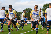 Leeds United midfielder Kalvin Phillips (2) and Leeds United midfielder Mateusz Klich (6) warming up during the Pre-Season Friendly match between Guiseley  and Leeds United at Nethermoor Park, Guiseley, United Kingdom on 11 July 2019.