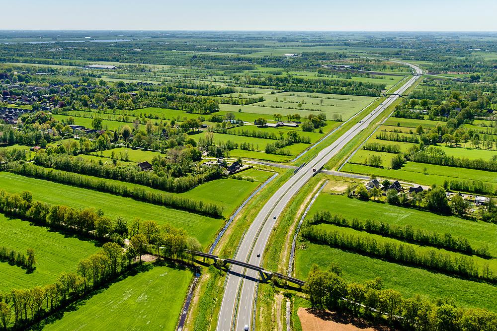 Nederland, Friesland, Centrale As, 07-05-2018; provinciale weg 356 (N356), Sintrale As of de Centrale As, tussen Nijega en Dokkum.<br /> Lokatie ter hoogte van Feanwalden, met fietsbrug.<br /> New local motorway Friesland<br /> luchtfoto (toeslag op standaard tarieven);<br /> aerial photo (additional fee required);<br /> copyright foto/photo Siebe Swart