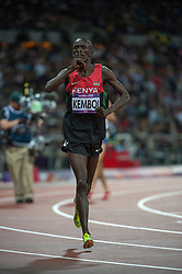 Ezekiel Kemboi after winning Mens 3000m Steeplechase final, at the London 2012 Olympics, Monday, 6th  August 2012  Photo by:  i-Images