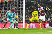 Burton Albion's Lucas Akins shoots shortly before the Aston Villa own goal during the EFL Sky Bet Championship match between Aston Villa and Burton Albion at Villa Park, Birmingham, England on 3 February 2018. Picture by John Potts.