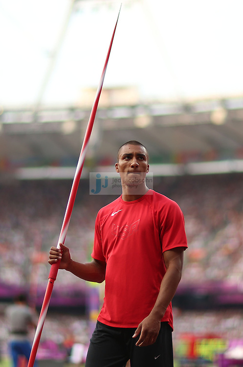Ashton Eaton of the USA warms up prior to the javelin portion of the decathlon during track and field at the Olympic Stadium during day 13 of the London Olympic Games in London, England, United Kingdom on August 9, 2012..(Jed Jacobsohn/for The New York Times)..