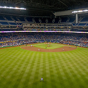 MIAMI, FLORIDA, JUNE 28, 2017<br /> Marlins Park during a game vs the New York Mets with what's considered a good turnout mostly due to the New York Fans.<br /> (Photo by Angel Valentin/Freelance)