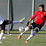 11/4/16 4:46:45 PM  -- Fullerton College's Julian Ochoa  (1) punts the ball while Golden West College's Mark Hernandez  (9) attempts to block the kick.  Hernandez received a yellow card for his actions.  --Fullerton College, Fullerton, Ca<br /> <br /> Photo by Joe Bergman / Sports Shooter Academy