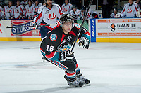 KELOWNA, CANADA, OCTOBER 16 - Kris Schmidli #16 of the Kelowna Rockets skates on the ice against the Lethbridge Hurricanes on Wednesday, October 16, 2013 at Prospera Place in Kelowna, British Columbia (photo by Marissa Baecker/Getty Images)***Local Caption***