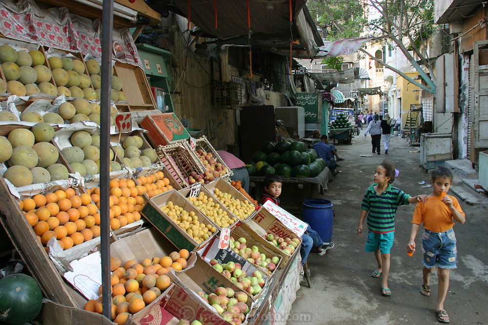 A fruit stand in the old part of Islamic Cairo, Egypt. (Supporting image from the project Hungry Planet: What the World Eats.)