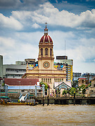 14 SEPTEMBER 2016 - BANGKOK, THAILAND:  Looking across the Chao Phraya River to Santa Cruz church in the Thonburi section of Bangkok. Santa Cruz is one of the first Catholic churches in Bangkok. It was established by Portuguese mercenaries serving King Taksin the Great in 1770.         PHOTO BY JACK KURTZ