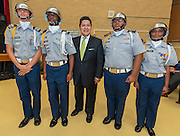 Houston ISD Superintendent Richard Carranza poses for a photograph with the Waltrip Color Guard during a stop of the Listen & Learn tour at Black Middle School, September 20, 2016.