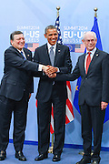 Jos&eacute; Manuel Barroso, President of the European Commission, left, shake hands with The United States President Barack Obama and Herman Van Rompuy, President of the European Council prior a meeting of the EU-US Summit in Council of Europe, in Brussels, Wednesday 26, March 2014.<br /> This is the first visit for President Barack Obama to the European Institutions in Brussels. Photo by Delmi Alvarez