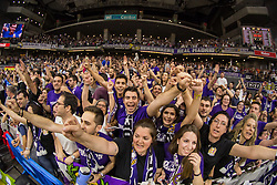 April 27, 2018 - Madrid, Madrid, Spain - Berserkers, Real Madrid supporters, during Real Madrid victory over Panathinaikos Athens (89 - 82) in Turkish Airlines Euroleague playoff series (game 4) celebrated at Wizink Center in Madrid (Spain). April 27th 2018. (Credit Image: © Juan Carlos GarcíA Mate/Pacific Press via ZUMA Wire)