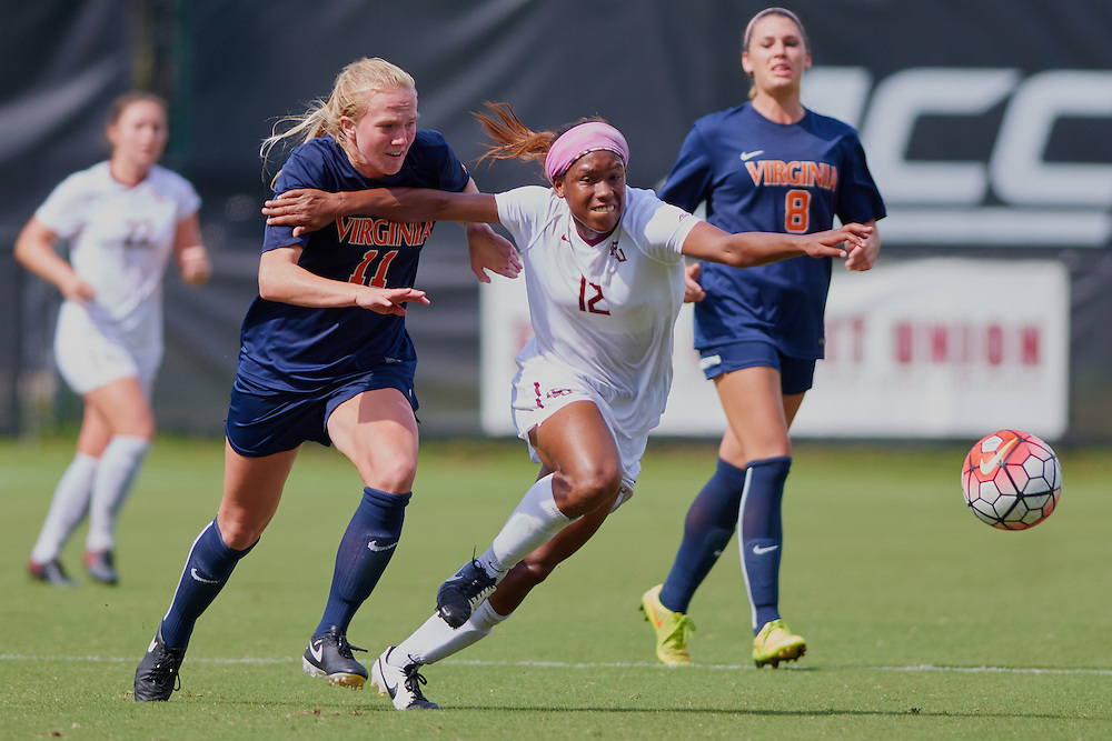 Tallahassee - FL - September 2016: <br /> The Florida State Women's Soccer team tied the #2 Virginia Cavaliers 1-1 in a rain shortened match at the FSU Soccer Complex on September 25, 2016 in Tallahassee, FL.  Copyright 2016 Perrone Ford. (Photo by Perrone Ford / PTFPhoto.com)