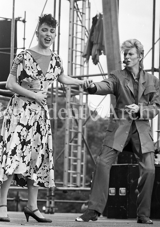 David Bowie at Slane Castle July 1987.<br /> (Part of the Independent Newspapers Ireland/NLI collection.)