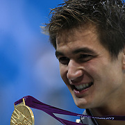 Nathan Adrian, USA, winning the  gold medal in the Men's 100m  Final at the Aquatic Centre at Olympic Park, Stratford during the London 2012 Olympic games. London, UK. 1st August 2012. Photo Tim Clayton