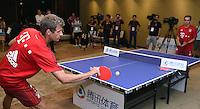 FUSSBALL     1. BUNDESLIGA     SAISON  2015/2016 Audi Football Summer Tour China 2015 FC Bayern Muenchen   18.07.2015 Tag 2; Thomas Mueller (li) und Philipp Lahm spielen Tischtennis bei einem Event des Sports.qq.com