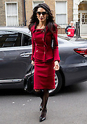 UNITED KINGDOM, London: 25 January 2016 Amal Clooney arrives at the chamber of her law firm Pic by Andrew Cowie