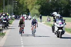 Elisa Longo-Borghini (ITA) of Trek-Segafredo and Amanda Spratt (AUS) of Mitchelton Scott Cycling Team lead the break during the Amstel Gold Race - Ladies Edition - a 126.8 km road race, between Maastricht and Valkenburg on April 21, 2019, in Limburg, Netherlands. (Photo by Balint Hamvas/Velofocus.com)
