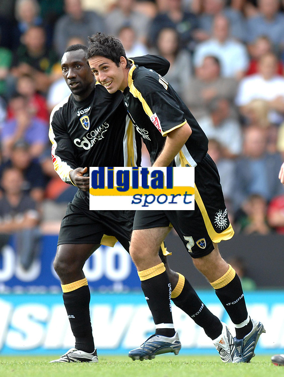 Photo: Ashley Pickering.<br /> Norwich City v Cardiff City. Coca Cola Championship. 01/09/2007.<br /> Peter Whittingham (R) scores his equaliser for Cardiff with team mate Jimmy-Floyd Hasselbaink