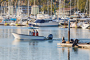 Fishermen Boating Through the Harbor in Dana Point