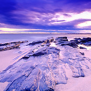 Rocks on the beach at dawn. Prout's Neck. Scarborough, Maine