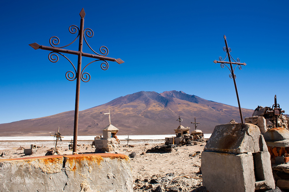 Dilapitated crosses mark the resting place of miners, adventurers and other people who were not able to survive the harsh conditions of the Sud Lipez region next to the Salar de Chiguana in western Bolivia.