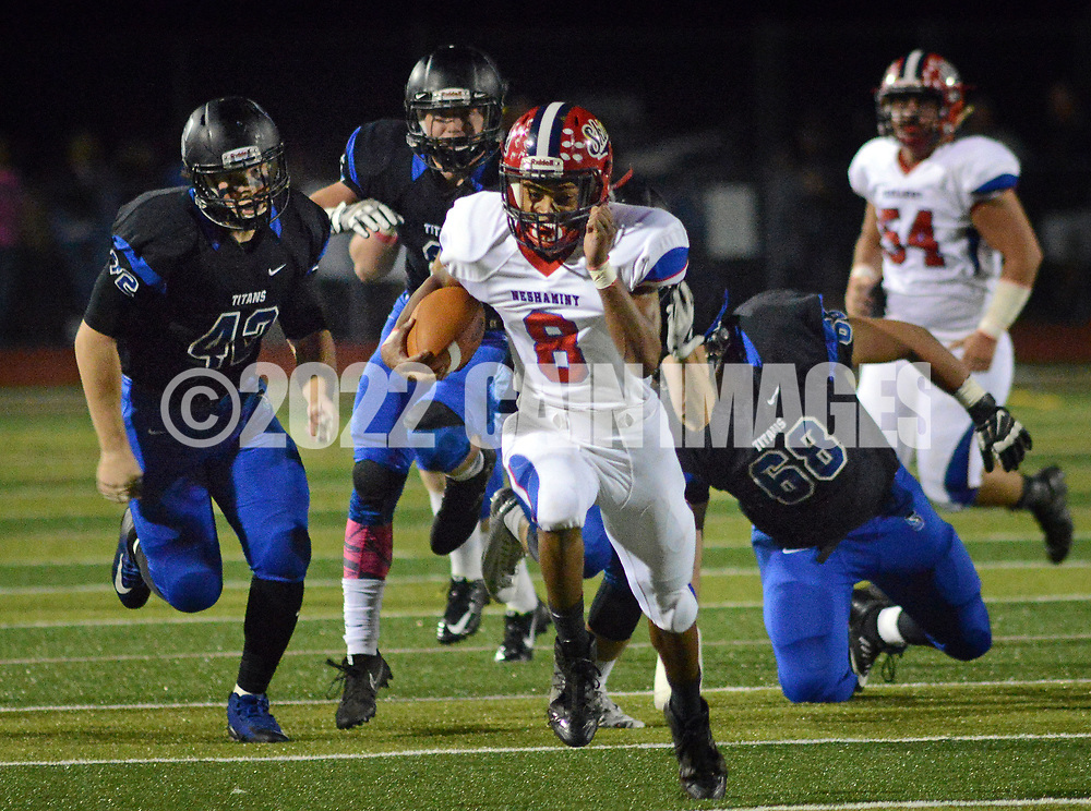 Neshaminy's Savion Hebron (8) breaks free of Central Bucks South defenders on his way to scoring a touchdown in the first quarter Friday, October 06, 2017 at Central Bucks South in Warrington, Pennsylvania. (WILLIAM THOMAS CAIN / For The Philadelphia Inquirer)