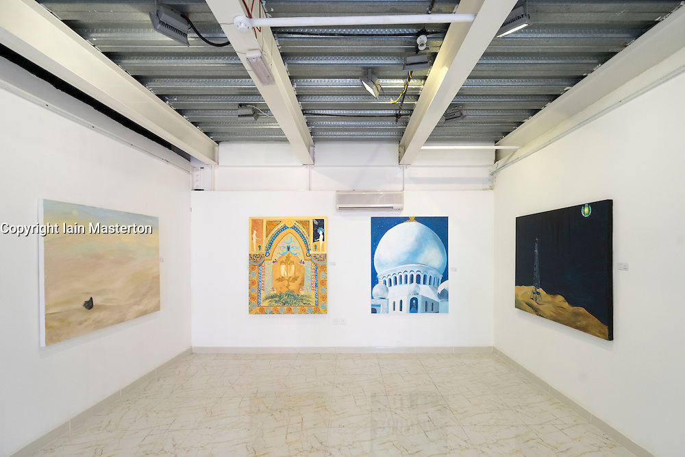 Paintings in a gallery at  Abu Dhabi Art Hub in Abu Dhabi United Arab Emirates