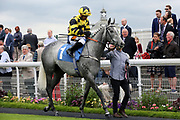 SANDRAS SECRET (1) ridden by Jockey Silvestre de Sousa and trained by Les Eyre in the Parade Ring before winning The EBF Breeders Series Fillies Handicap Stakes over 6f (£30,000) during the Mid Summer Raceday at York Racecourse, York, United Kingdom on 15 June 2018. Picture by Mick Atkins.