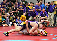 Alburnett's Jacob Koch (top) tries to pin Maquoketa Valley's Jared Coyle in the 120-pound final at the Class 1A sectional wrestling tournament at East Buchanan High School in Wintrhop on Saturday, February 4, 2012. (Stephen Mally/Freelance)