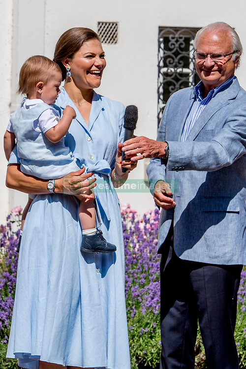 King Carl Gustaf, Crown Princess Victoria and Prince Oscar during the traditionally celebration of Crown Princess Victoria's birthday at the royal family's summer residence, Solliden Palace in Borgholm, Öland, Sweden, on July 15, 2017, a day later Stockholm celebration. Photo by Robin Utrecht/ABACAPRESS.COM