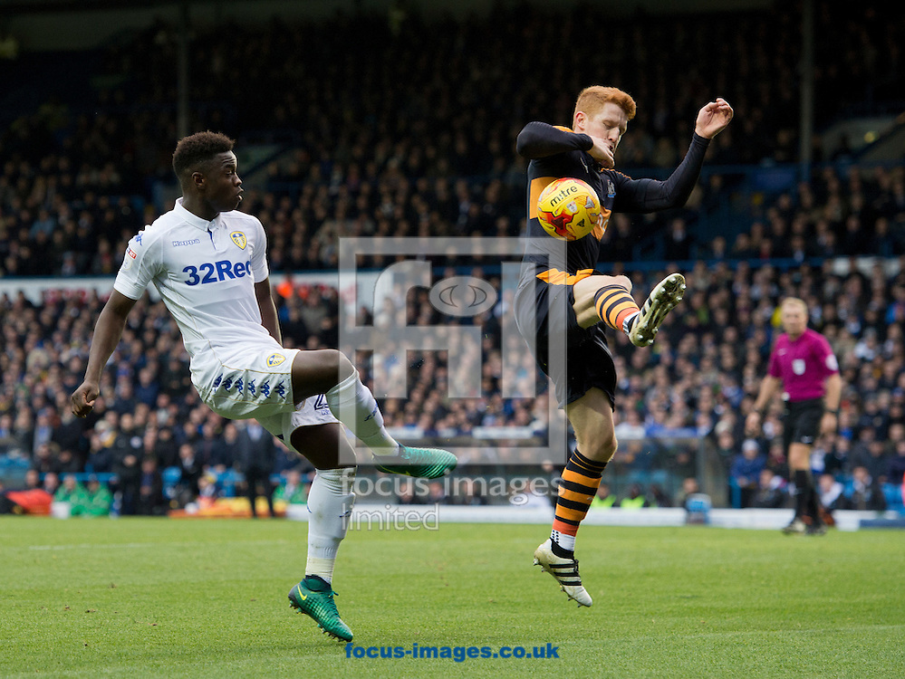 A cross by Ronaldo Vieira of Leeds United (left) hits Jack Colback of Newcastle United during the Sky Bet Championship match at Elland Road, Leeds<br /> Picture by Russell Hart/Focus Images Ltd 07791 688 420<br /> 20/11/2016