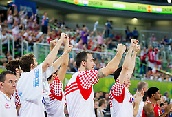 Damir Markota #12 of Croatia and Damjan Rudez #9 of Croatia react during basketball match between National teams of Spain and Croatia in 3rd Place game at Day 19 of Eurobasket 2013 on September 22, 2013 in Arena Stozice, Ljubljana, Slovenia. (Photo by Vid Ponikvar / Sportida)