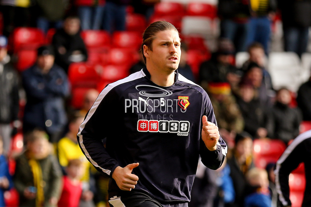 Watford defender Sebastian Prodi  during the The FA Cup fourth round match between Nottingham Forest and Watford at the City Ground, Nottingham, England on 30 January 2016. Photo by Simon Davies.