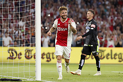 (L-R) Lasse Schone of Ajax, Dario Maresic of Sturm Graz, during the UEFA Champions League second round qualifying first leg match between Ajax Amsterdam and Sturm Graz at the Johan Cruijff Arena on July 25, 2018 in Amsterdam, The Netherlands